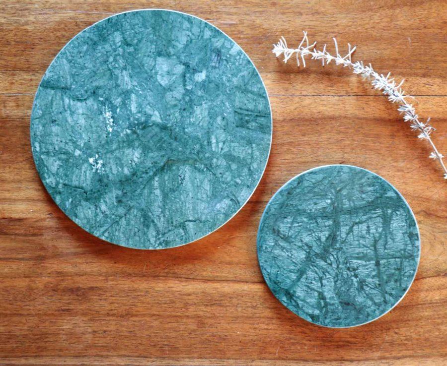 Dessous de plat en marbre vert