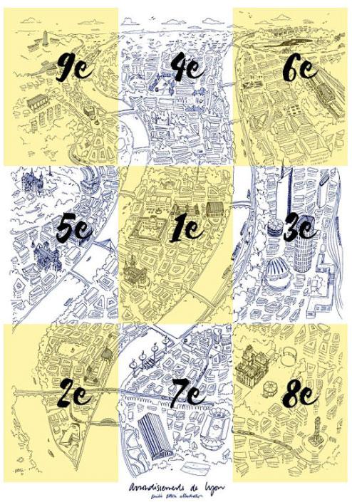 cartes postales des 9 arrondissements de lyon maison math v. Black Bedroom Furniture Sets. Home Design Ideas