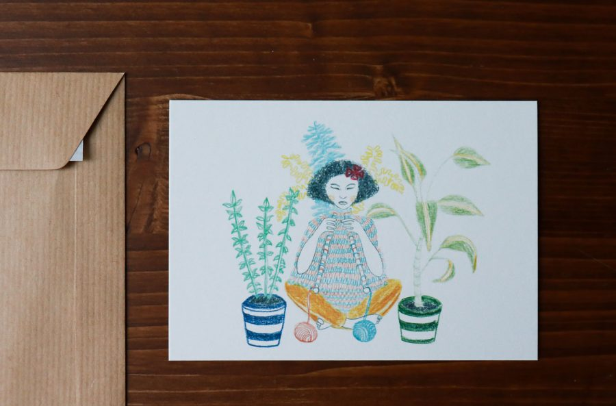 Carte femme au tricot Sprz - Maison Mathuvu