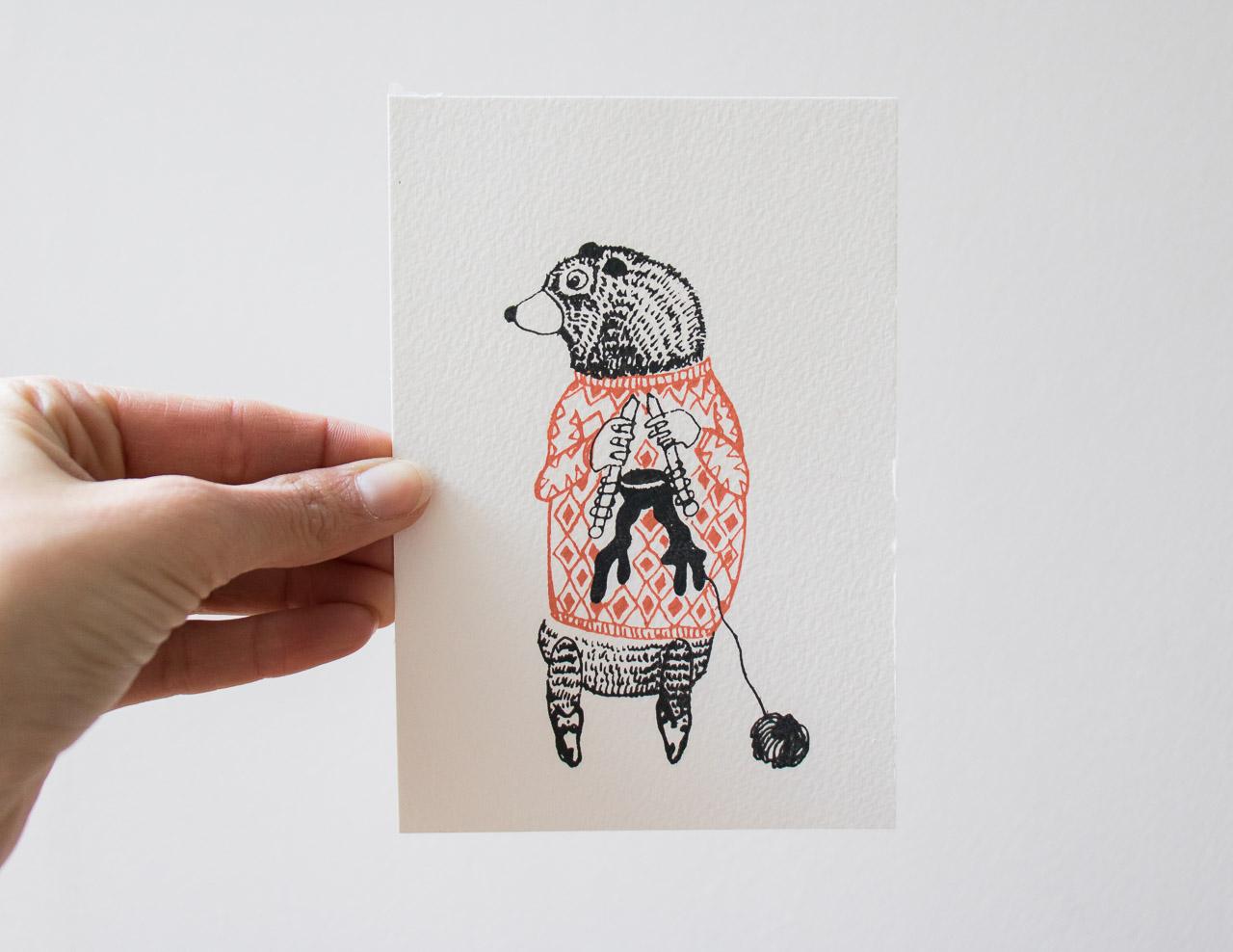 Carte ours et tricot Sprz - Maison Mathuvu