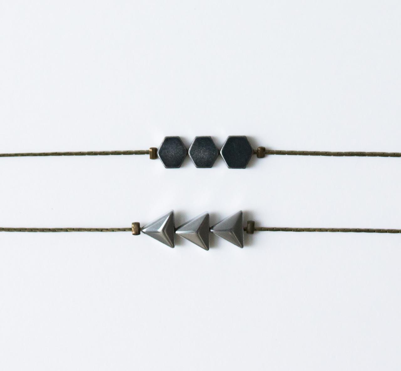Bracelet géométrique argenté Jisalée - Maison Mathuvu