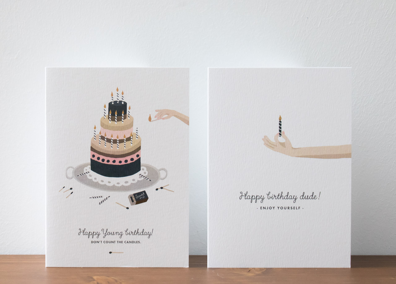 Carte d'anniversaire gâteau et bougie All the ways to say - Maison Mathuvu