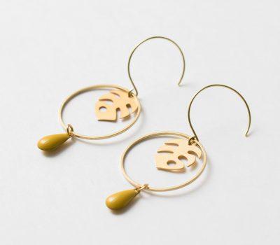 Boucles d'oreilles monstera jisalée- Maison Mathuvu