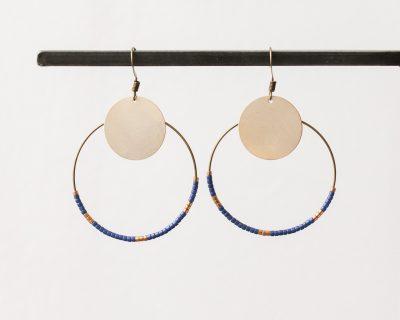 Boucles d'oreilles bleu et cuivre -Maison Mathûvû