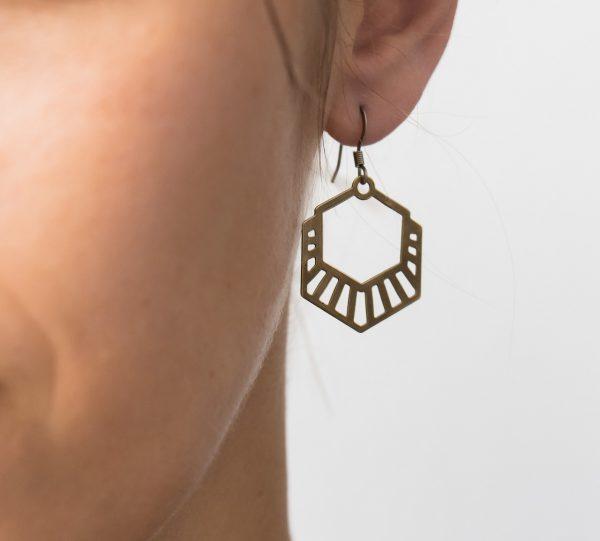 Boucles d'oreilles hexagone -Maison Mathûvû