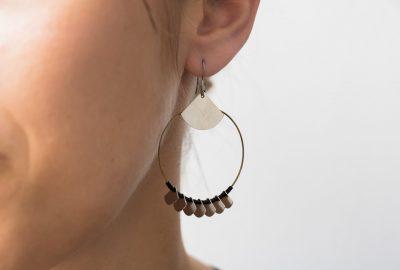 Boucles d'oreilles noir et argent - Maison Mathûvû