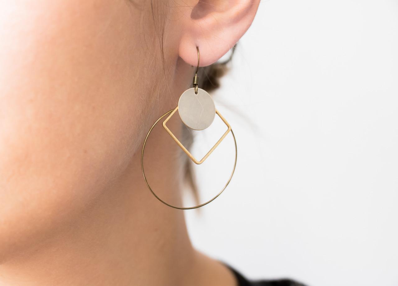 Boucles d'oreilles - cercle et carré- Maison Mathûvû