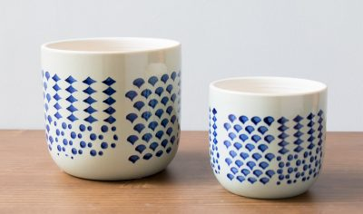 Cache-pot aux motifs bleus - Pomax -Maison Mathûvû