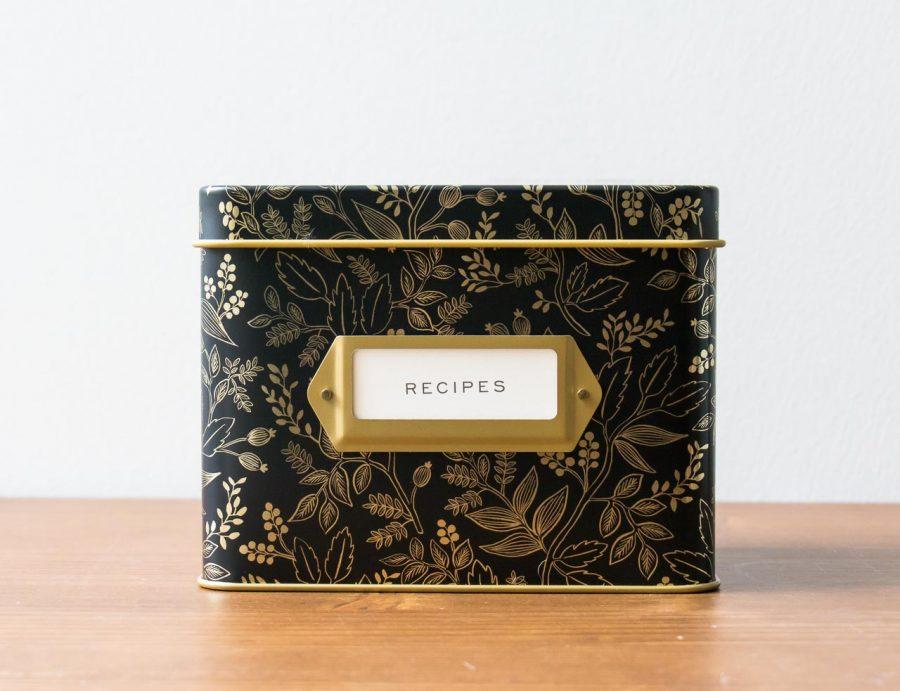 Boîte à recettes noir et doré Rifle Paper Co - Maison Mathûvû