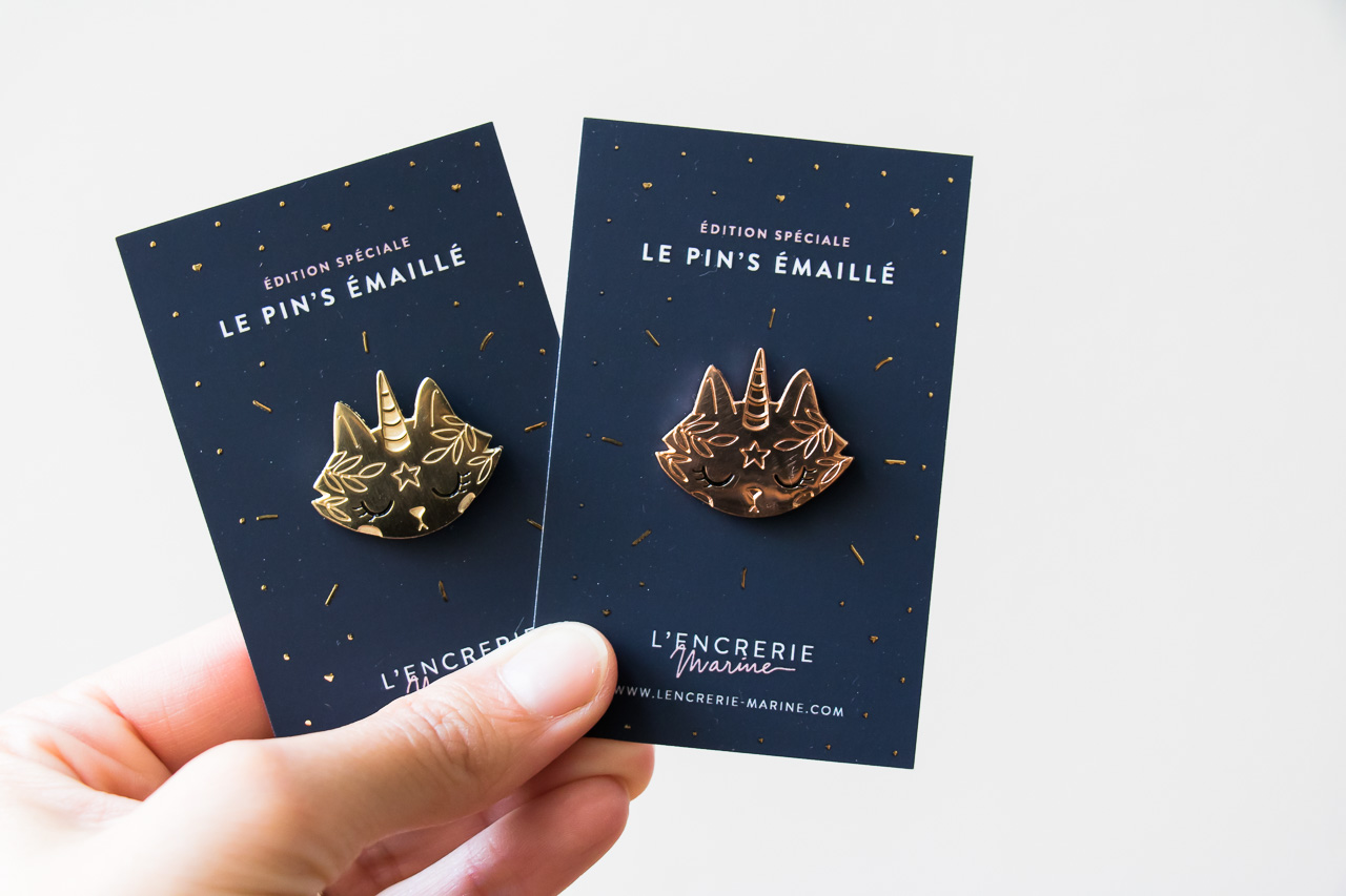 Pin's chat licorne - L'encrerie Marine -Maison Mathûvû