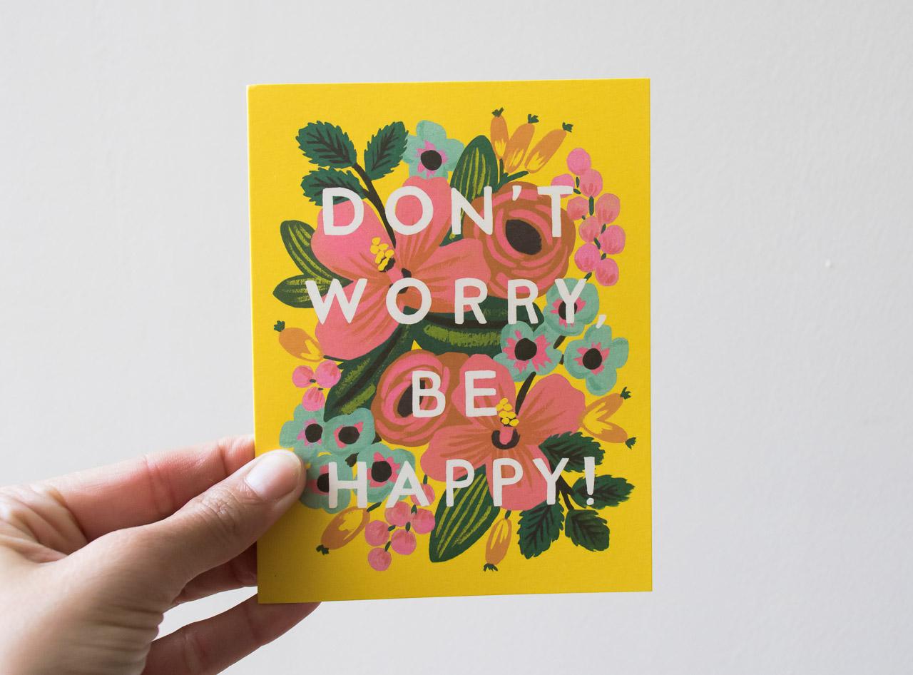 Carte Don't Worry - Rifle Paper Co -Maison Mathûvû