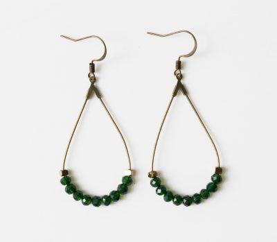boucles d'oreilles perles vertes Maison Mathuvu