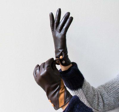 gants en cuir 2 boutons Glove story - Maison Mathuvu