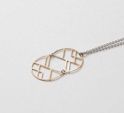 collier double disc graphic Maison Mathûvû