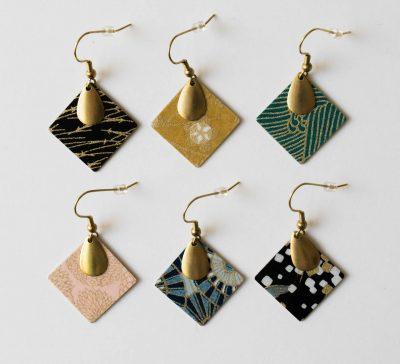 boucles d'oreilles carré japonais Lilifabrique - Maison Mathuvu