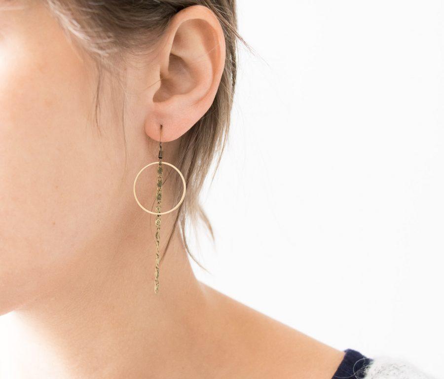 Boucles d'oreilles Cercle et chaîne Maison Mathuvu