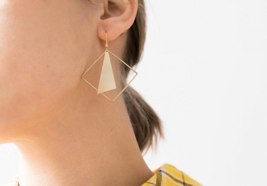 Boucles d'oreilles - Carré doré Maison Mathuvu