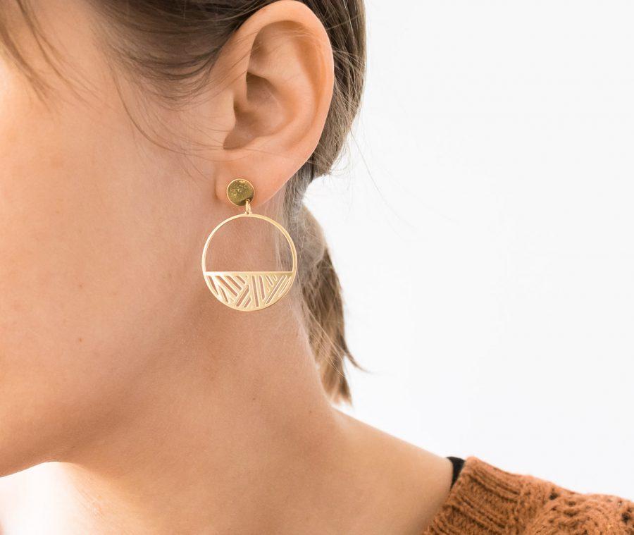 Boucles d'oreilles créoles Quadrature Eskhina - Maison Mathuvu