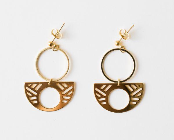 Boucles d'oreilles rondes - Quadrature Eskhina - Maison Mathuvu