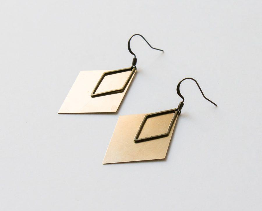 Boucles d'oreilles - Losange doré Maison mathuvu