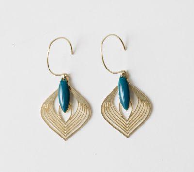 Boucles d'oreilles - Plume et sequin Jisalée - maison mathuvu