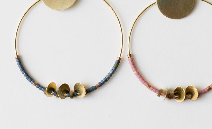 Boucles d'oreilles Hiko - Rose et Bleu Maison mathuvu