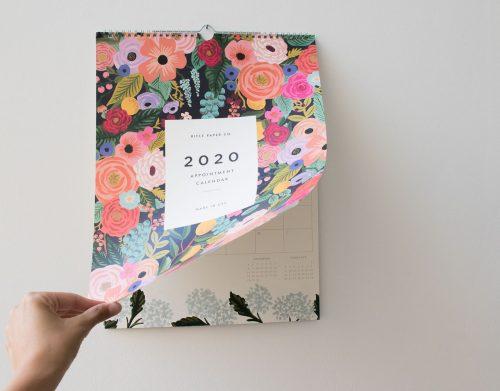 Calendrier 2020 - Wild rose rifle paper co - maison mathuvu