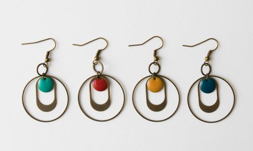 Boucles d'oreilles - Ovale et sequin Jisalée - Maison Mathuvu