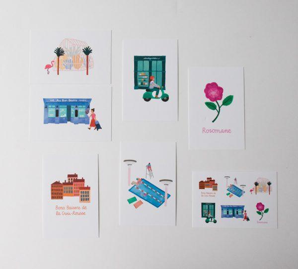 Set de cartes postales - Lyon julie Flamingo