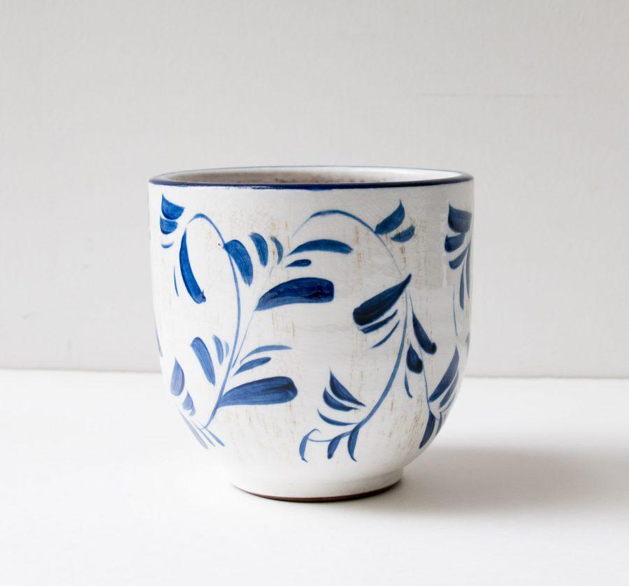 Cache-pot bleu et blanc Bloomingville - maison mathuvu