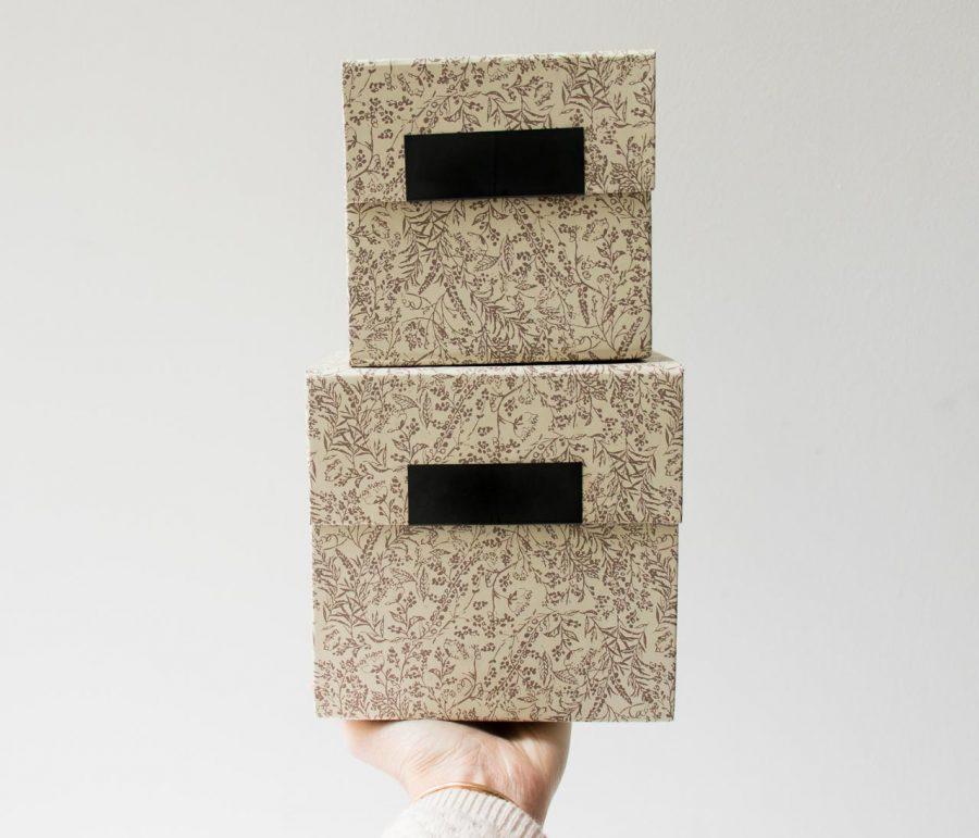 Boîte carrée florale - Beige house doctor - maison mathuvu