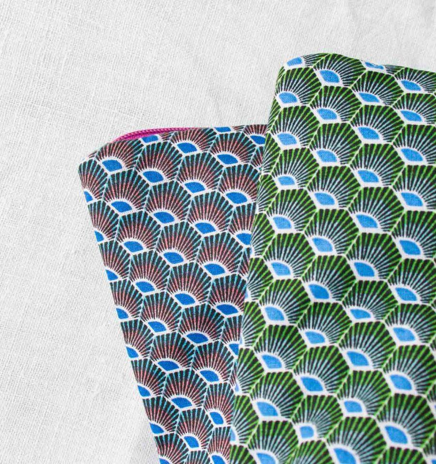 Trousse de toilette Mira - Paon vert ou bleu maison mathuvu
