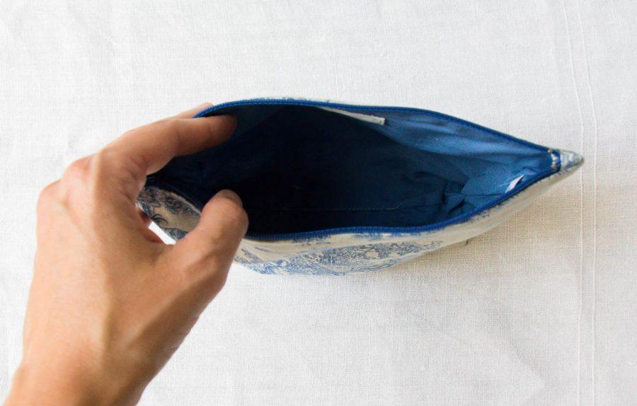 Pochette Auro - Toile de Jouy bleu Maison mathuvu