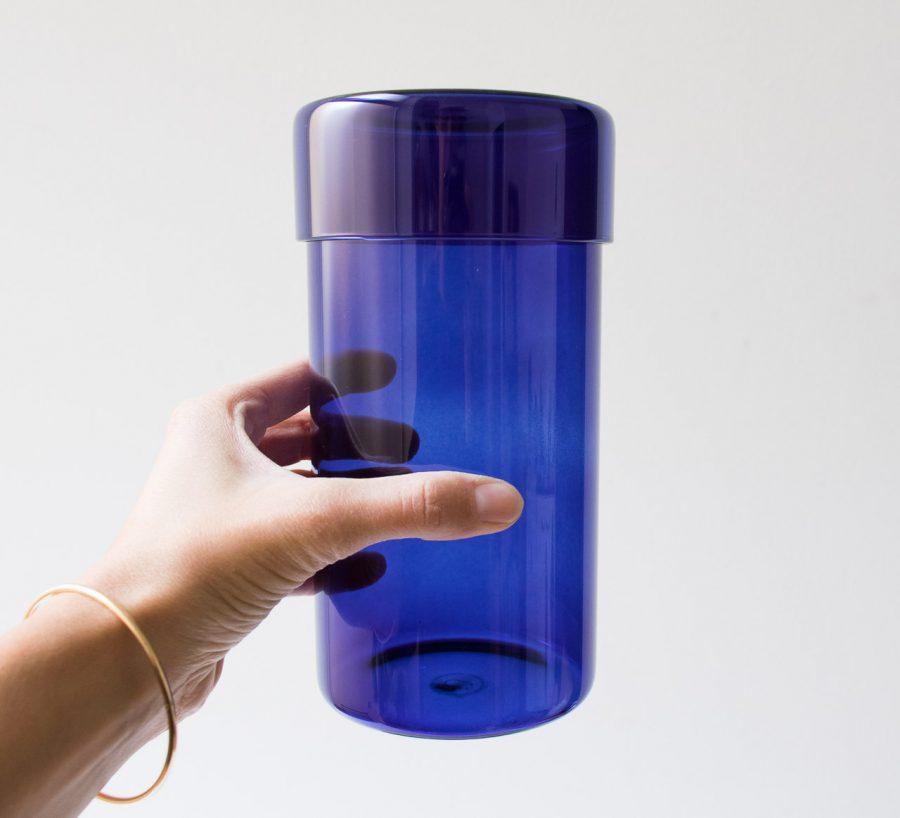 Pot en verre - Bleu Hubsch - maison mathuvu