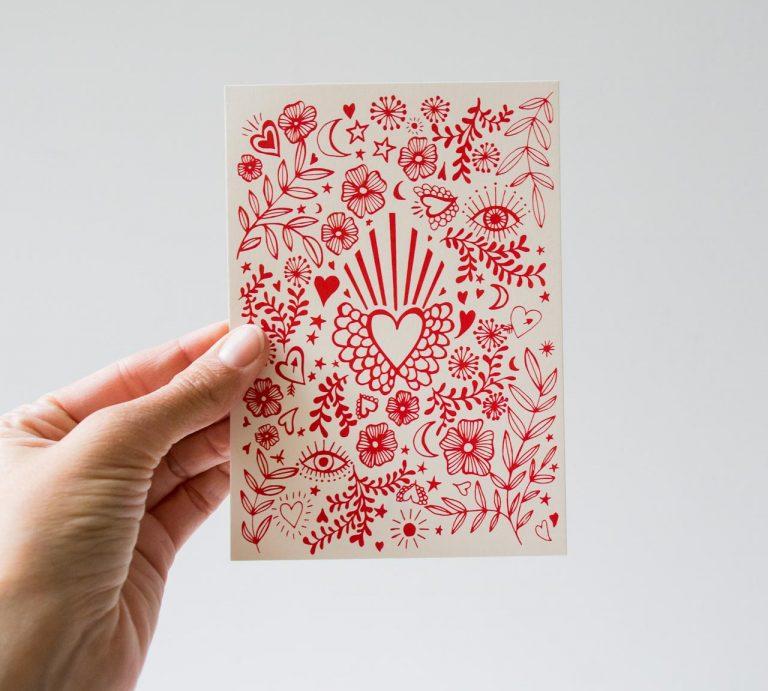 Carte - Cœur rouge Rugiada petrelli - maison mathuvu