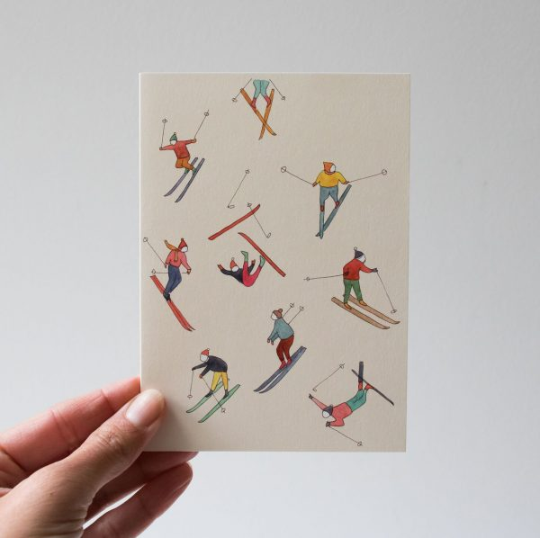 Carte - Skieurs Petit gramme - maison mathuvu