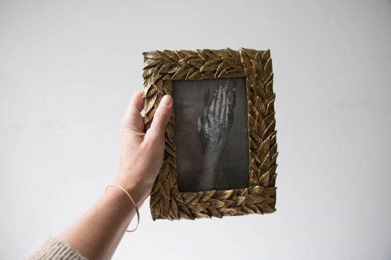 Cadre photo - Feuille dorée Chehoma - maison mathuvu