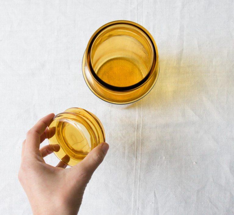Pot en verre - Ambré Pièce chinée - maison mathuvu