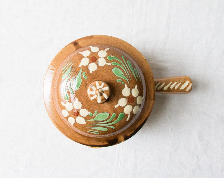 Poêlon Fleur beige Pièce chinée - maison mathuvu