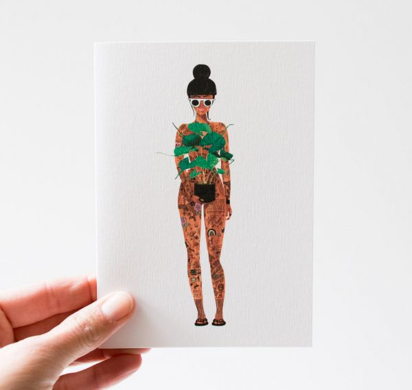 Carte - Naked girl with a plant, all the ways to say - maison mathuvu