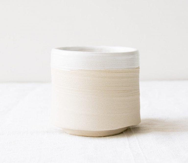 Cache-pot bi-colore Loun - Blanc maison mathuvu