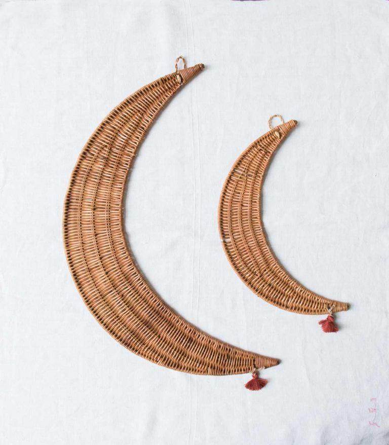 Suspension Lune en rotin Madam stoltz - maison mathuvu